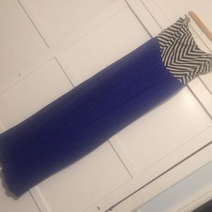 Plus, Blue, black and white strapless maxi dress